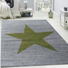 Designer Teppich Stern Muster Grn Modern Trendig Kurzflor Meliert In Grau Wohn Und Schlafbereich