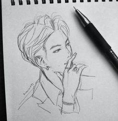 Trendy Painting Art Bts Ideas is part of pencil-drawings - pencil-drawings Kpop Drawings, Pencil Art Drawings, Art Drawings Sketches, Bts Eyes, Kpop Fanart, Anime Sketch, Art Sketchbook, Cute Art, Art Inspo