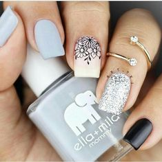 frenchy collection - 12 stamping plate stamper: 3 in 1 super clear rectangular stamper black stamping polish colors by -on thin ice- -lights out- -grey skies- Stylish Nails, Trendy Nails, Nail Polish Designs, Nail Art Designs, Nails Design, Nail Designs For Kids, Diy Nails, Cute Nails, Kathy Nails