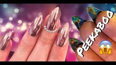 Rose Gold Mirror Chrome + PEEKABOO HOLO (Holographic)Nail Design