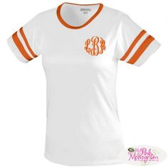 Monogrammed Juniors White Camp Tee in 9 Stripe Colors  Apparel & Accessories > Clothing > Activewear > Active Shirts