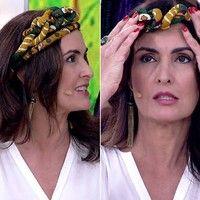 Turbante tiara: Fátima Bernardes aprende a fazer visual afro no 'Encontro'