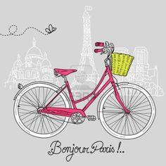 Mit dem Fahrrad in der Art, Romantische Postkarte aus Paris Stockfoto