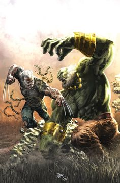 Old Man Logan vs. Old Hulk - pencils: Mike Deodato Jr., color: Ed Anderson