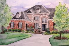 Personalized House Portrait Watercolor Painting by RobinIngles