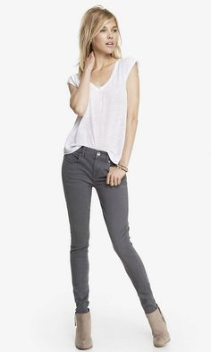 Gray Mid Rise Extreme Stretch Jean Legging | Express