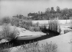 Duncan Creek in 1905. The now Heyde Center and Notre Dame Church in the distance. Courtesy of the Wisconsin Historical Society.