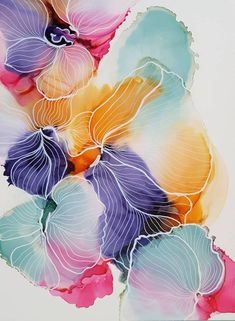 Would you like to learn how to paint with alcohol ink? In this alcohol ink online workshop you will learn how to draw flower and coral illustrations on alcohol ink. Abstract Watercolor, Watercolor Flowers, Watercolor Paintings, Colorful Paintings, Abstract Oil, Watercolour, Alcohol Ink Painting, Alcohol Ink Art, Arte Floral