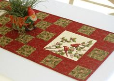 Cardinal Table Runner Quilted Red Table Runner by RedNeedleQuilts