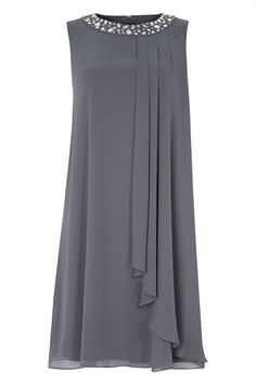 Embellished Neck Chiffon Dress in Grey – Roman Originals UK - Kleidung Ideen Stylish Dresses, Women's Fashion Dresses, Casual Dresses, Formal Dresses, Fall Dresses, Long Dresses, Shift Dresses, Dresses Dresses, Dance Dresses