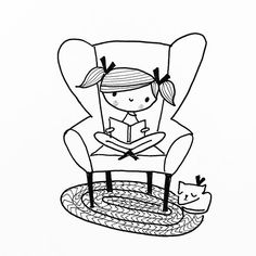 A friend suggested my girl doodles had a Joan Walsh Anglund sensibility about them. After looking at her wonderful work I had to try a girl reading in a wingback chair as a tribute. Cute Doodle Art, Cute Doodles, Cute Art, Art Drawings For Kids, Doodle Drawings, Cute Drawings, Doodle People, Doodle Lettering, Doodle Inspiration