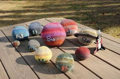 The Fingers and Yarn Etsy store  fun (and soft) way to teach kids about the solar system.A collection of 10 knit and stuffed spheres featuring each planet and the Sun. These toys are a great way to spark interest in space for kids… or a wonderful gift for your space-loving friends.  Each is colorfully embroidered with its initials for reference.  The colors used are as accurate as possible.