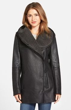 Sam Edelman Sam Edelman 'Sydney' Hooded Faux Shearling Coat available at #Nordstrom