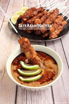 Sate Ayam Madura - Chicken Satay with Peanut Sauce Sate ayam Madura is probably what come to most people's mind when sate is mentioned. We have a lot of satay varieties, but this is the default when no other additional information is supplied. Peanut Sauce Recipe, Sauce Recipes, Chicken Recipes, Cooking Recipes, Sate Sauce Recipe, Sate Ayam, Indonesian Cuisine, Indonesian Recipes, Asian Recipes