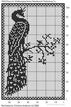 filet häkeln Pfau - crochet Peacock