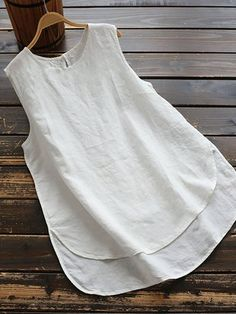Crew Neck Sleeveless Solid Irregular Plus Size Vests Tops Plus Size Vests, Plus Size Tank Tops, Plus Size Blouses, Mode Hippie, Casual T Shirts, White Women, Types Of Sleeves, Blouses For Women, Designer