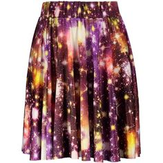 Galaxy Print Elastic Waist Skirt ($9.89) ❤ liked on Polyvore featuring skirts, galaxy print skirt, galaxy skirts, cosmic skirt, purple skirt and stretch waist skirt