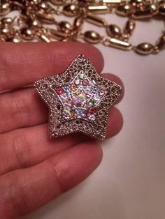 Vintage Silver Filigree Large Star Pendant Slide Pastel Rhinestones by Glamaroni on Etsy