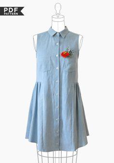Alder Shirtdress sewing pattern PDF by Grainline Studio.