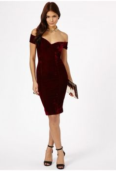 Rila Velvet Bardot Bodycon Midi Dress - Dresses - Missguided