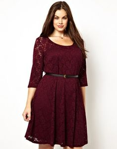 Image 1 of New Look Inspire 3/4 Sleeve Lace Skater Dress