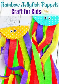 Adorable rainbow jellyfish puppet craft for kids & very EASY to make! Toilet Paper Roll Crafts, Paper Plate Crafts, Craft Stick Crafts, Paper Plates, Easy Crafts For Kids, Summer Crafts, Toddler Crafts, Ocean Crafts, Rainbow Crafts