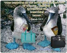 """How comely upon the mountains are the feet of the one bringing good news, the one publishing peace, the one bringing good news of ---""""Your God has become king!"""""""