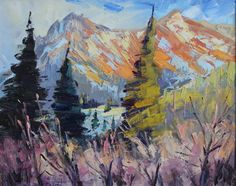 Landscape oil painting by Terry Ouimet, Oil Painting, Landscape painting, Plein Air Painting, Fine Art, Colorado Landscape, Paintings of Colorado, Mountains, Telluride, Ridgway, Ouray, Impressionism, Trees, Sunset on Red Mountain