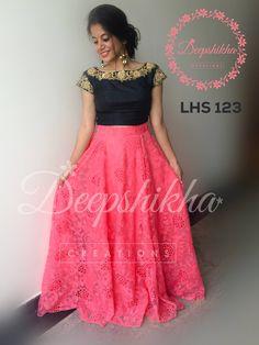 LHS 123For queries kindly inbox orEmail - deepshikhacreations@gmail.com Whatsapp / Call -  919059683293 04 September 2016 06 October 2016 Churidar Designs, Lehenga Designs, Saree Blouse Designs, Long Gown Dress, Frock Dress, Long Frock, Long Dress Design, Dress Neck Designs, Lehenga Gown