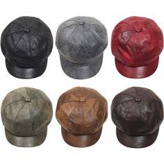 N169 Women 8 Panel Faux Leather Newsboy Cap Sexy Club Cute Flat Gatsby Beret Hat