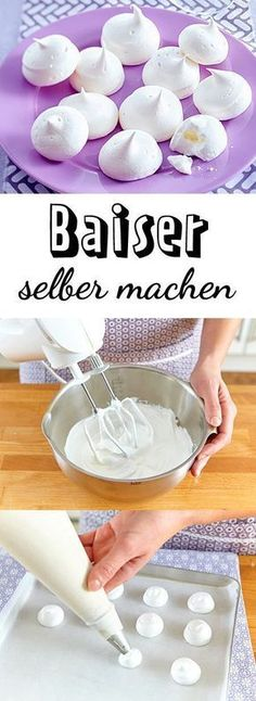 Baiser selber machen – so geht's Actually, it is meringue to simple egg whites, which is pitched with a lot of fine sugar and then dried in the oven. Nevertheless, there is a lot to consider in the preparation. We show you how to make meringue yourself. Sweet Recipes, Cake Recipes, Cake & Co, Sweets Cake, Thanksgiving Desserts, Halloween Desserts, Cakes And More, Diy Food, Cake Cookies