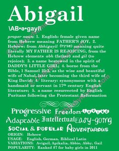 ABIGAIL Personalized Name Print / Typography Print / Detailed Name Definitions / Numerology-calculated Destiny Traits / Educational on Etsy, $20.00