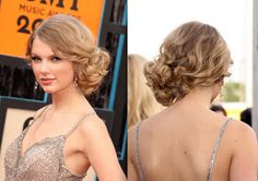 Taylor Swift Hair tutorial, messy side bun/chignon updo for formal : homecoming, prom, wedding