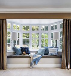 A home may not always be complete without a bay window seat. Whether it is a house or an apartment, you can have at least one. Make sure that these bay window seats are suitable for the whole conce… Bay Window Living Room, Bedroom Windows, Window Seat Curtains, Bay Window Seats, Window Seats Bedroom, Blinds For Bay Windows, Home Windows, Curtains For Bedroom, Modern Window Seat