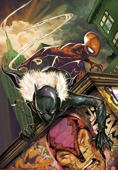 Black Panther (Shuri) and Spider-Man by Mike Del Mundo