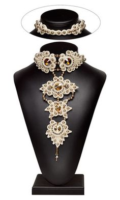 Jodi Horgan Peacock Princess -  Bib-Style Necklace with SWAROVSKI ELEMENTS and Soutache - Fire Mountain Gems and Beads