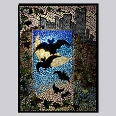 "Belcher mosaic stained glass: ""Bats in the Moon"""