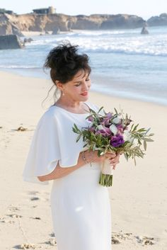Perfect for an elopement on the beach. Orchids, roses and sage. Bridesmaid Dresses, Wedding Dresses, Big Sur, Sage, Orchids, Wedding Flowers, Bouquet, Roses, Bridal