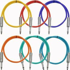 """Seismic Audio - SASTSX-3 (6 Pack) - 3 Foot TS 1/4"""" Guitar, Instrument, or Patch Cables Colored by Seismic Audio. $28.99. TS Patch CablesModel # SASTSX-3 (6 Pack)1/4"""" TS Male to 1/4"""" TS Male3 FeetHeavy Duty Flexible Rubber JacketColor: Blue, Red, Orange, Yellow, Green, PurpleShielded CablesBrand NewOne Year Warranty Unbalanced 1/4"""" cables are typically used to connect mixers to equalizers, crossovers, compressors, effects units or amplifiers...anywhere that requires an u..."""