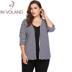 IN'VOLAND Plus Size L-4XL Women Sweater Top Autumn 3/4 Batwing Sleeve Striped Open Front Ribbed Cardigan Large Coat Big Size #INVOLAND #sweaters #women_clothing #stylish_sweater #style #fashion