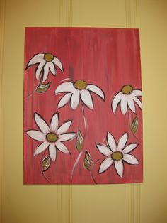 coral canvas painting with daisies