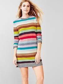 Holiday stripe wool sweater dress
