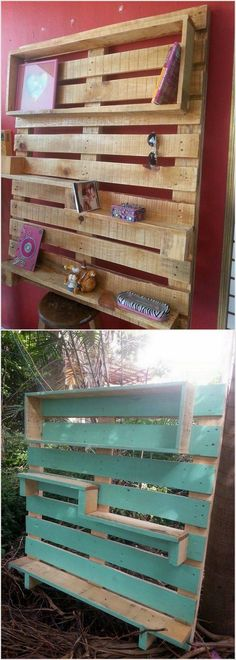 Creative Wood Pallet Repurposing Ideas: Pallet wood is just awesome for creating new furniture and projects. You can get many plans and ideas from the internet. Pallet woods are. Pallet Shelving, Pallet Desk, Pallet Furniture, Reclaimed Wood Projects, Pallet Projects, Projects To Try, Pallet Creations, Wood Tools, Crafts To Do