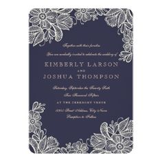 Floral Wedding Invitations Vintage Lace Wedding Card