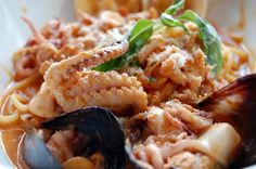 Frutti de mare a fabulous dish of shrimp, clams, baby octopus, mussels and calamari on pasta (usually in a light red sauce) is probably my all-time favorite dish EVER.  I'm searching for a recipe I can replicate easily.