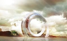 This futuristic combination of a wind turbine and an apartment complex harnesses natural energy while providing sustainable housing.