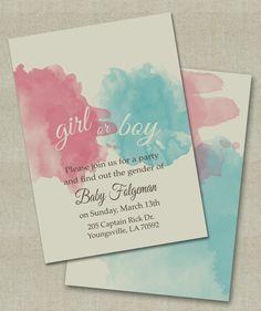 Gender Reveal Invitations. On Etsy.