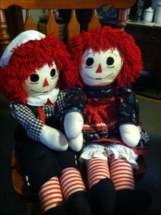 """36"""" Raggedy Ann and Andy dolls I have made."""