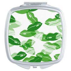 Green Kiss Me Irish Lips Design Mirrors For Makeup