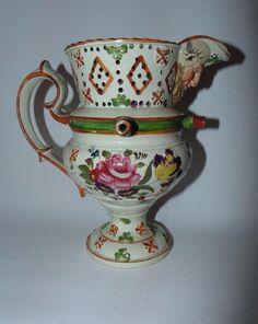 Rare  Sunderland / Newcastle Pottery Lustre Puzzle Jug c1800-1820 .7.5  high